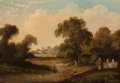 Fine Art - Painting, European:Antique  (Pre 1900), Continental School (19th Century-). An Extensive Landscape witha Figure on a Path and a Town in the Distance. Oil on ca...