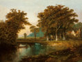 Fine Art - Painting, European:Antique  (Pre 1900), Continental School (19th Century). Landscape with fishermen andcottage. Oil on canvas. 28 x 36 inches (71.1 x 91.4 cm)...