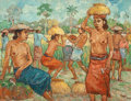 Indonesian, Putu Pager (Balinese, b. 1932). The Harvesters . Oil oncanvas. 29-3/4 x 38 inches (75.6 x 96.5 cm). Signed and inscribe...