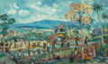 Indonesian, Putu Pager (Balinese, b. 1932). Landscape. Oil on canvas.19-1/2 x 32 inches (49.5 x 81.3 cm). Signed lower left:Pag...