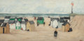 Fine Art - Painting, European:Contemporary   (1950 to present)  , Ginette Rapp (French/American, 1928-1998). Seashore at BerqueNord. Oil on canvas. 16 x 31-1/2 inches (40.6 x 80.0 cm). ...