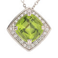 Estate Jewelry:Necklaces, Peridot, Diamond, White Gold Pendant-Necklace. . ...