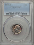 Roosevelt Dimes, 1949-D 10C MS67+ PCGS. PCGS Population: (275/9 and 14/0+). NGC Census: (517/10 and 2/0+). Mintage 26,034,000. ...