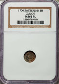 Switzerland:Zurich, Switzerland: Zurich. City 3 Haller (Rappen) ND (ca. 17th/18th centuries) MS65 Prooflike NGC,...