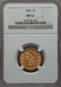 Liberty Half Eagles: , 1886 $5 MS62 NGC. NGC Census: (155/77). PCGS Population: (127/69). CDN: $425 Whsle. Bid for problem-free NGC/PCGS MS62. Min...