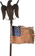 Political:3D & Other Display (pre-1896), Abraham Lincoln: Figural Eagle Torch on Original Pole with Flag....