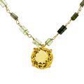Estate Jewelry:Necklaces, Green Tourmaline, Citrine, Gold Necklace, Patricia Makena. ...