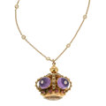 Estate Jewelry:Necklaces, Multi-Stone, Diamond, Gold Pendant-Necklace. ...