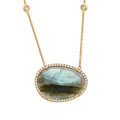 Estate Jewelry:Necklaces, Labradorite, Diamond, Pink Gold Necklace. ...