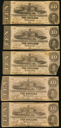 Confederate Notes:1862 Issues, T52 $10 1862 PF-16 Cr. 374 Five Examples.. ... (Total: 5 notes)