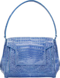 "Nancy Gonzalez Periwinkle Blue Crocodile Shoulder Bag Very Good Condition 10"" Width x 7"" Height x"