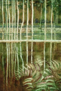 Fine Art - Painting, European:Contemporary   (1950 to present)  , 20th Century School. Landscape with ferns, 1991. Oil oncanvas. 23-3/4 x 15-3/4 inches (60.3 x 40.0 cm). Signed and date...