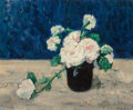 Fine Art - Painting, European:Modern  (1900 1949)  , Henri Dumont (French, 1859-1921). Roses in a black vase. Oilon panel. 14-5/8 x 18 inches (37.1 x 45.7 cm). Signed lower...
