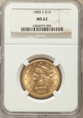 Liberty Eagles: , 1885-S $10 MS62 NGC. NGC Census: (238/62). PCGS Population: (269/113). CDN: $750 Whsle. Bid for problem-free NGC/PCGS MS62....