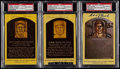 Baseball Collectibles:Others, Flick, Haines and Roush Signed Hall of Fame Plaque Postcards(3)....
