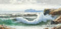 Fine Art - Painting, European:Contemporary   (1950 to present)  , Bruno di Giulio (Italian, b. 1943). Crashing Waves. Oil oncanvas. 7-7/8 x 15-3/4 inches (20.0 x 40.0 cm). Signed lower ...