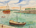 Fine Art - Painting, European:Modern  (1900 1949)  , Elisée Maclet (French, 1881-1962). Seaside landscape with sailboats and lighthouse. Watercolor on paper. 10 x 11-3/4 in...