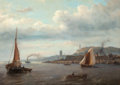 Fine Art - Painting, European:Antique  (Pre 1900), Louis Meyer (Dutch, 1809-1866). Fishing boats in a harbor withtwo lighthouses in the distance. Oil on canvas. 26-1/2 x ...