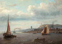 Louis Meyer (Dutch, 1809-1866) Fishing boats in a harbor with two lighthouses in the distance Oil on