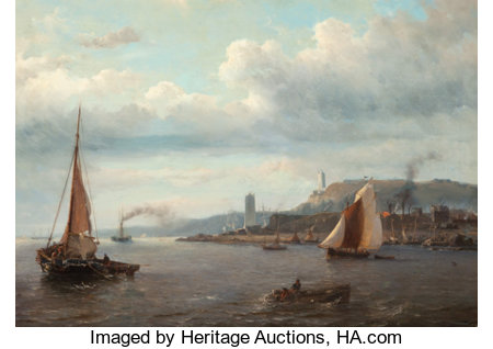 Louis Meyer (Dutch, 1809-1866) Fishing boats in a harbor with two lighthouses in the distance Oil on canvas 26-1/2 x ...