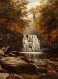 Fine Art - Painting, European:Antique  (Pre 1900), George E. Dalby (British, 19th Century). Cascade in theWoods. Oil on canvas. 24 x 17-3/4 inches (61.0 x 45.1 cm).Signe...
