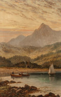 Fine Art - Painting, European:Antique  (Pre 1900), Albert Dunington (British, 1860-1928). Brodick Bay at eveningwith Goatfell in the distance, Isle of Arran, 1898. Oil on...