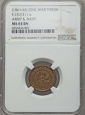 Civil War Tokens, (1861-65) TOKEN Army & Navy, F-257/311A, MS63 Brown NGC. ...
