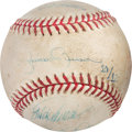 Baseball Collectibles:Balls, 2009 New York Yankees Game Used Baseball Signed by The Core Four. ...