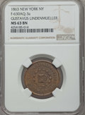 Civil War Tokens, 1863 Token New York, Gustavus LindenMueller, F-630AQ-3a, MS63 NGC.NGC Census: (1/5). ...