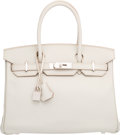 Luxury Accessories:Bags, Hermes 30cm Gris Perle Swift Leather Birkin Bag with PalladiumHardware . R Square, 2014 . Pristine Condition .12...