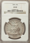 Trade Dollars: , 1875 T$1 XF45 NGC. NGC Census: (5/92). PCGS Population: (13/100).Mintage 218,200. ...