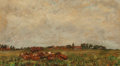 Fine Art - Painting, European:Antique  (Pre 1900), Continental School (19th Century). Cattle in a Field. Oil oncanvas laid on panel. 9-1/2 x 17 inches (24.1 x 43.2 cm). ...
