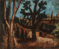 Other:Contemporary, 20th Century School . A Wooded Landscape. Oil on canvas. 15x 17-3/4 inches (38.1 x 45.1 cm). ...