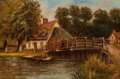Fine Art - Painting, European:Antique  (Pre 1900), R.A. Gill (British, 19th Century). River Cottage, 1883. Oilon canvas. 12-1/4 x 18-1/4 inches (31.1 x 46.4 cm). Signed a...