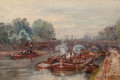 Fine Art - Painting, European:Modern  (1900 1949)  , Gustave Madelain (French, 1867-1944). Pont Neuf, Paris. Oilon panel. 9-3/4 x 13-3/4 inches (24.8 x 34.9 cm). Signed low...