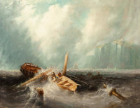 Louis Meyer (Dutch, 1809-1866) Shipwreck off the coast Oil on canvas 27-3/4 x 35-1/2 inches (70.5