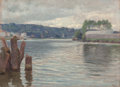 Fine Art - Painting, European:Modern  (1900 1949)  , Henri Marius Camille Bouvet (French, 1859-1959). Bords de laSeine, Meudon. Oil on canvas. 9-1/2 x 12-1/2 inches (24.1 x...