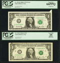 Error Notes:Attached Tabs, Fr. 1933-I $1 2006 Federal Reserve Note. PCGS Apparent Very Fine35;. Fr. 1933-K $1 2006 Federal Reserve Note. PCGS Gem New 66...(Total: 2 notes)