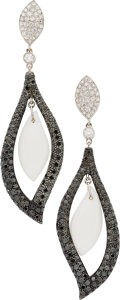 Estate Jewelry:Earrings, Colored Diamond, Diamond, Agate, White Gold Earrings, Eli Frei. ...(Total: 2 Items)
