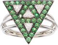 Estate Jewelry:Rings, Diamond, Tsavorite Garnet, White Gold Ring. ...