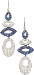 Estate Jewelry:Earrings, Diamond, Sapphire, White Gold Earrings. ... (Total: 2 Items)