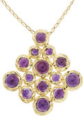 Estate Jewelry:Necklaces, Amethyst, Gold Pendant-Brooch-Necklace. ...