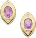 Estate Jewelry:Earrings, Pink Sapphire, Diamond, Gold Earrings. ... (Total: 2 Items)