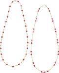 Estate Jewelry:Necklaces, Spinel, Colored Diamond, Platinum Necklaces. ... (Total: 2 Items)
