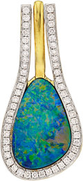 Estate Jewelry:Pendants and Lockets, Opal Doublet, Diamond, Gold Pendant. ...