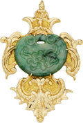 Estate Jewelry:Brooches - Pins, Jadeite Jade, Gold Pendant-Brooch, Robert Wander. ...