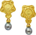 Estate Jewelry:Earrings, South Sea Cultured Pearl, Gold Earrings, Denise Roberge. ...(Total: 2 Items)