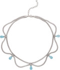 Estate Jewelry:Necklaces, Blue Topaz, White Gold Necklace, Fope. ...