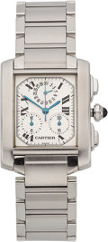 Estate Jewelry:Watches, Cartier Gentleman's Stainless Steel Tank Française Watch. ...