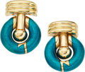 Estate Jewelry:Earrings, Enamel, Gold Earrings, La Nouvelle Bague. ... (Total: 2 Items)